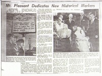 Mt. Pleasant Dedicates Historical Marker, 1962