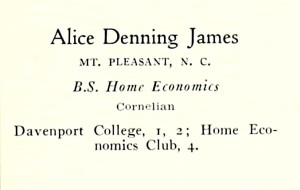 James, Alice D. UNC Greensboro, 1932