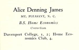 James, Alice D. UNC Greensboro, 1932