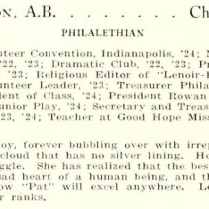 Wilkie Patterson, Lenoir-Rhyne College (Hickory, NC), Hacawa yearbook, 1925.