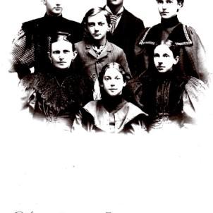 Ellen Goodman Linn and her children, c. 1895. Back: Maggie Alice, John Hugh, and Rhea Laura. Center: Ellen Frances, Samuel Grover, Josepha Aurelia. Front: Beulah Elmina.